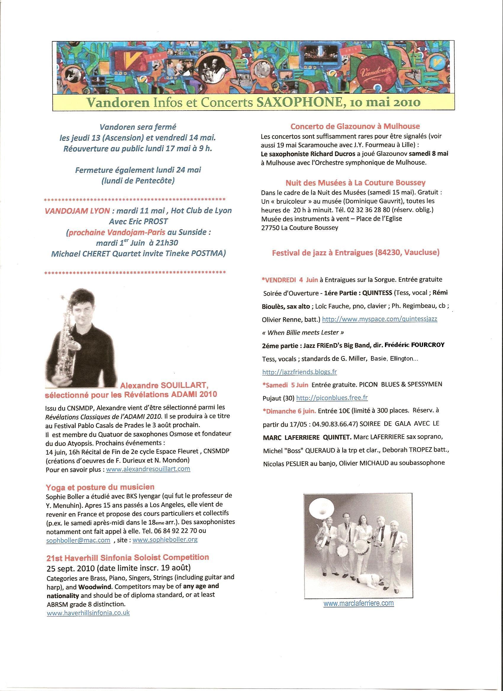 Bulletin Infos Vandoren 100510